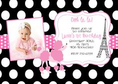 Pink Poodle photo bday invitation