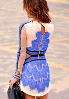 Blue Geometric Grenadine Long Sleeve Lace Dress