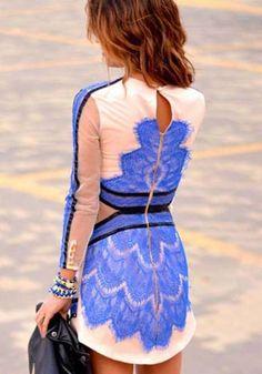 Blue Geometric Grenadine Long Sleeve Lace Dress