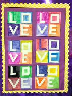 Easy to make fun, colorful, Robert Indiana inspired LOVE paintings. This is a great art activity for kids for Valentine's Day. Makes a beautiful bulletin board display! FREE