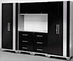 Garage Storage Cabinet Set 7pc Metal Black Tools Stainless Steel Drawer Shelves - Boxes & Cabinets