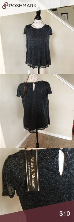 Black sparkle blouse Black sparkle blouse. UK size 14—US size 10. Great layered under a blazer or for a special occasion. There's a slight sparkle to the fabric. Bundle and save! I'm moving soon so no reasonable offer will be denied :) Tops Blouses