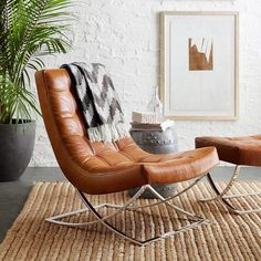 James Nickel & Leather Chair #chairs