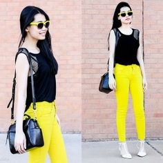 Tammy Defox - Zara Top, Zara Lime Trouser, Zara Strap White Laminate Heels, Handmade Leather Camera Bag - Love of Lime