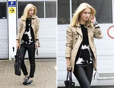 H&M Cow Jumper, H&M Leather Pants, New Balance Sneakers
