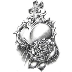 27 Best White Roses And Heart Tattoo Images Black White Rose