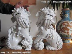 """Chinese blanc de chine pair of foo dogs, 15"""" tall, $569"""