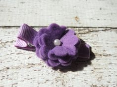 Purple Felt Flower Hair Clip / Non slip / Ready To Ship