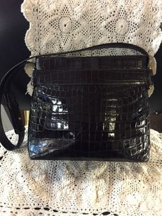 d8eaace46e0 Beautiful Vintage Salvatore Ferragamo Purse Handbag Crocodile Alligator  Embossed Chocolate Brown Leather