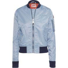Schott NYC Bomber Ice Blue // Bomber jacket ($225) ❤ liked on Polyvore featuring outerwear, jackets, flight bomber jacket, slim fit jacket, slim jacket, blue bomber jacket and long sleeve jacket