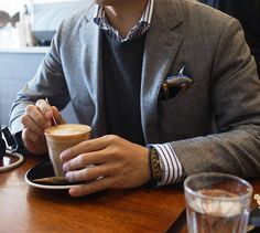Pocket square, sweater and jacket combo, bracelets