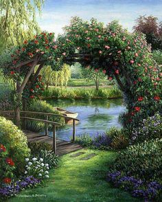 images of beautiful scenery of nature Beautiful Landscapes, Beautiful Gardens, Beautiful Paintings Of Nature, Colorful Paintings, Thomas Kinkade, Nature Pictures, Scenery Pictures, Belle Photo, Pretty Pictures