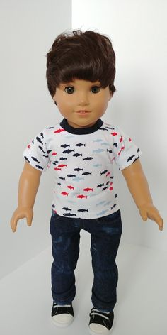 Excited to share the latest addition to my shop: Doll shirt 18 inch. Fits like American girl boy doll clothing. Ag Dolls, Girl Dolls, Boy Doll Clothes, Boy Clothing, American Boy Doll, Barbie Doll Accessories, Boy Face, Boy Pictures, Boys Shirts