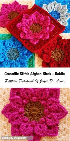 Crochet Afghan Do you already know Crocodile Stitch? If not, check the pattern designed by Joyce D. Lewis: Crocodile Stitch Afghan Block – Dahlia is a crochet pattern for a beautiful afghan block. Point Granny Au Crochet, Crochet Squares Afghan, Crochet Motifs, Granny Square Crochet Pattern, Crochet Afghans, Crochet Flower Patterns, Crochet Blocks, Afghan Crochet Patterns, Crochet Flowers