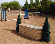 "DIY xcountry skinny jump...6' galvanized trough turned upside down...flanked with tomato cage pine garland ""trees"". Lizard Flats"