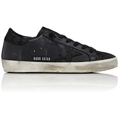 Golden Goose Women's Women's Superstar Leather & Suede Sneakers (28.090 RUB) ❤ liked on Polyvore featuring shoes, sneakers, black, suede wedge sneakers, black suede sneakers, leather low top sneakers, wedge heel sneakers and leather wedge sneakers