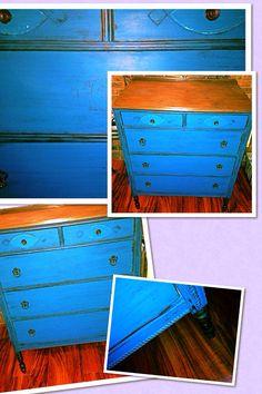 Antique dresser in peacock blue