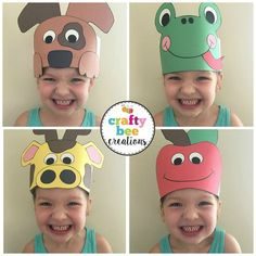 Cutest A to Z Animal Hats ever! Kids will not only love wearing them, but they will love making them Crazy Hat Day, Crazy Hats, Animal Crafts For Kids, Easy Crafts For Kids, Diy For Kids, Craft Activities, Preschool Crafts, Alphabet, Silly Hats