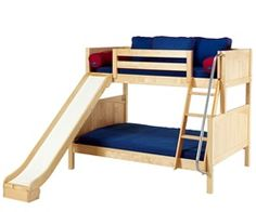 Maxtrix furniture kids twin and full bunk bed beds with slide in white natural or chestnut finish. Childrens TWIN FULL bunkbed with slide bed in twin size and full size slide bed