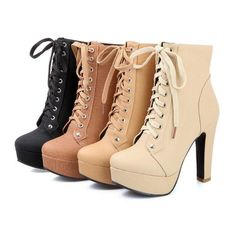 Womens Hot High Heels Pumps Platform Lace Up Gothic Ankle Boots#4Color Us10.5
