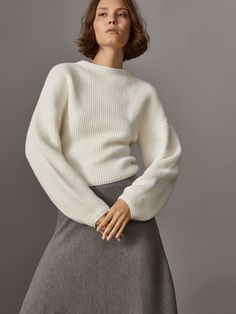 Fall Winter 2017 Women´s ROUND NECK SWEATER WITH WIDE SLEEVES at Massimo Dutti for 79.95. Effortless elegance!