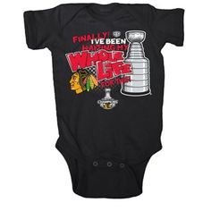 """""""I've been waiting my whole life for this"""" Chicago Blackhawks Stanley Cup 2013 onesie."""