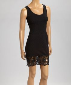 Another great find on #zulily! Black Lace-Trim Sleeveless Bodycon Dress by Cute Options #zulilyfinds