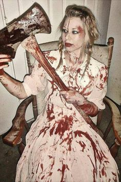 Lizzie Borden took an axe and gave her father 40 whacks, when she saw what she had done,  she gave her mother 41. (Liz Borden Halloween costume)