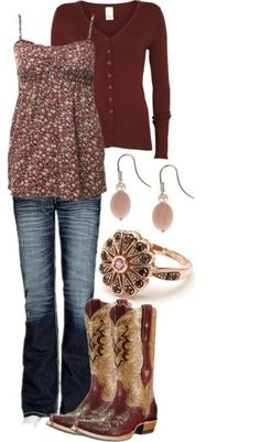 This is the cutest outfit I have ever seen! It is the perfect outfit for someone who lives in the countryside! I want the outfit now! Estilo Cowgirl, Cowgirl Style, Gypsy Cowgirl, Look Fashion, Autumn Fashion, Fashion Outfits, Womens Fashion, Pretty Outfits, Cool Outfits
