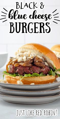 Tangy blue cheese, sautéed mushrooms and caramelized onions, and a tangy lemon garlic aioli make these juicy homemade hamburgers incredibly delicious. Follow this easy recipe and enjoy the flavors of a grilled Red Robin Copycat Black and Bleu Burger at home. #burger #blackandblueburger #grilling #redrobin #copycat #bluecheese #aioli Black And Blue Burger, Healthy Dishes, Healthy Recipes, Lemon Garlic Aioli, Blue Cheese Burgers, Homemade Hamburgers, Mushroom And Onions, Homemade Black, Sauteed Mushrooms