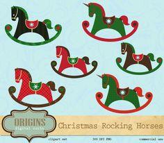 Christmas Rocking Horse Clipart by Origins Digital Curio on Creative Market