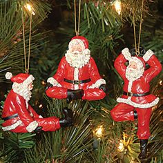 Yoga Santa Ornaments