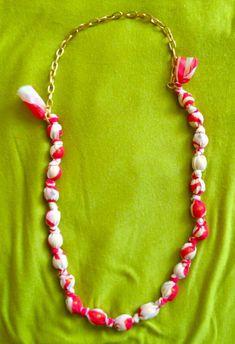 beaded fabric necklace DIY