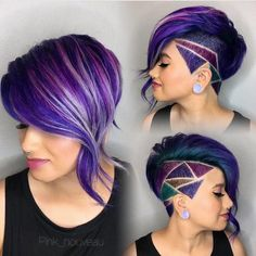 30 Stylish Undercut Hairstyles for Women Shaved side bob with purple oil slick hair and shaved hair design. The post 30 Stylish Undercut Hairstyles for Women appeared first on Beautiful Daily Shares. Undercut Hairstyles, Cool Hairstyles, Shaved Hairstyles, Short Undercut, Undercut Women, Undercut Styles, Undercut Designs, Haircut Short, Wedding Hairstyles