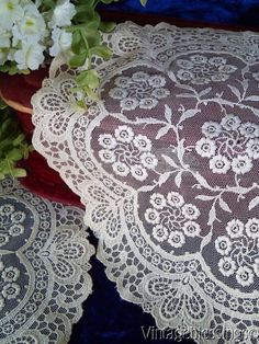 """$28 Vintage PAIR French Net Embroidered Plate Round Doilies 11 1/2"""" www.Vintageblessings.com"""
