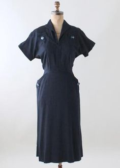 Vintage 1950s Navy Western Accents Day Dress