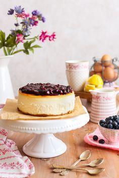 Tarta de queso con arándanos (New York cheesecake) | Con aroma de vainilla