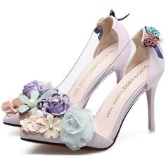 Light Pink Clear Faux Pearl Floral Decor Pointed Toe Stiletto High... ($53) ❤ liked on Polyvore featuring shoes, pumps, heels, clear pumps, high heel stilettos, pointy-toe pumps, stiletto heel pumps and pointed-toe pumps