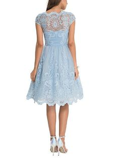 Baroque Style Tea Dress - knee length - light blue