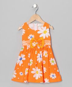 Take a look at this Orange Daisy Bow Dress - Toddler & Girls by Lele for Kids on #zulily today!