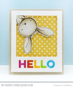 The newest April release including the sweet bunny stamp as well as the Polaroid die will be available in a few hours! Kids Cards, Baby Cards, Card Making Inspiration, Making Ideas, Scrapbooking, Mft Stamps, Animal Cards, Homemade Cards, Your Cards