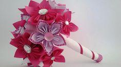bouquet origami kusudama lin blanc strass