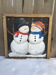 Snowman couple,Snowman friends,Snowman, Denver colors, hand painted, recycled, window screen,customize for you