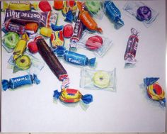 candy -- still life by brodybro Drawing Lessons, Art Lessons, Colorful Drawings, Art Drawings, Candy Drawing, 5th Grade Art, Kawaii Doodles, Ap Studio Art, Candy Art