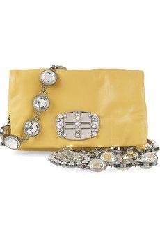 Miu Miu|Strass crystal-embellished mini leather bag|