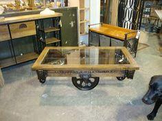 factory cart wheels | ... & Custom Designs: Furniture Factory Cart - Glass Top Coffee Table