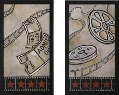 Reel and Ticket Theater Wall Art Pair by Stargate Cinema. $179.99. Texturedu2026