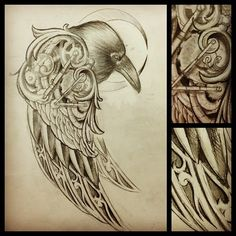 Charles Berger • Finished sketch for a raven tattoo I get to do...