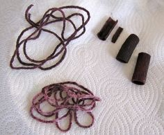 Ancient Phoenicia: making purple dye with blueberries to dye yarn and dried pasta and make a necklace. (C1, Wk 3 - Timeline)