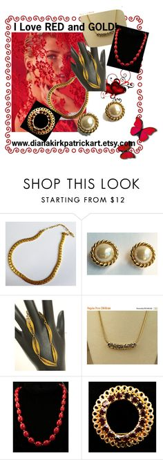 """I Love Red!"" by diana-32 ❤ liked on Polyvore featuring Sarah Coventry, Trifari, Monet and vintage"